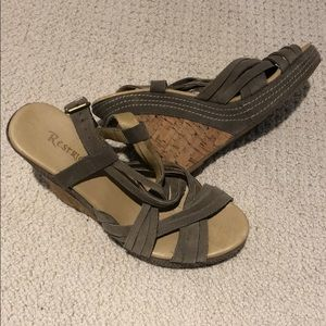 Restricted Shoes - Gray green suede wedges